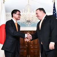 Taro Kono and Mike Pompeo agree to keep North Korean sanctions in place during denuclearization
