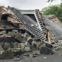 Mototaiko Yagura, a drum tower at Kumamoto Castle in Kumamoto Prefecture, was found collapsed on Wednesday.  The castle complex has been closed to the public since a series of earthquakes in 2016.