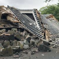'Drum tower' collapses at earthquake-hit Kumamoto Castle after heavy downpours