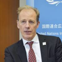 Andrew Gilmour, assistant secretary-general of the U.N. Human Rights Office, speaks in an interview in Tokyo on June 4. | KYODO