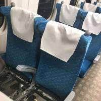 A photo provided by a passenger shows seats with cushions removed on the bullet train where a fatal stabbing occurred on Saturday, after passengers removed them to use them as shields against a knife-wielding man. | KYODO