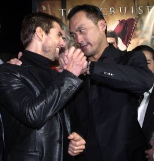 Watanabe greets co-star Tom Cruise at the premiere of