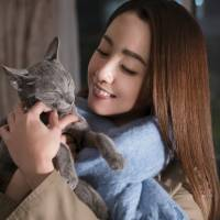 A purr-fect listener: Erika Sawajiri's Saori finds a feline friend in a Russian Blue named Yoshio in Isshin Inudo's 'The Cat in Their Arms.' | ©2018 'THE CAT IN THEIR ARMS' FILM PARTNERS
