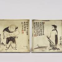 'Square Dishes with the Chinese Monk Poet Hanshan (Kanzan) and the Kitchen Boy Shide (Jittoku)' is an Important Cultural Property. Painting by Ogata Korin and ceramics by Ogata Kenzan. | KYOTO NATIONAL MUSEUM