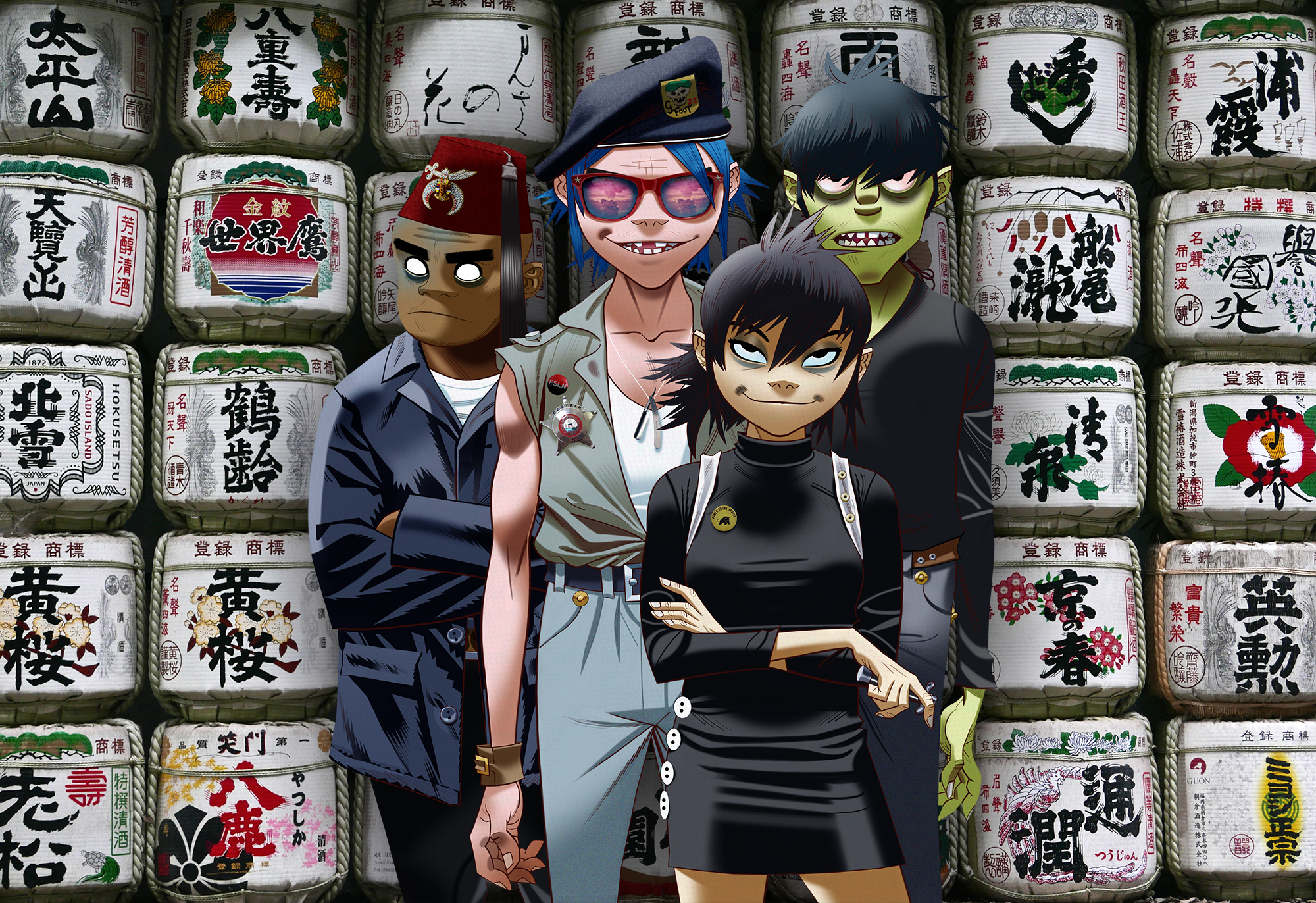 Tomorrow comes next week: Virtual band Gorillaz consists of (from left) Russel Hobbs, 2-D, Noodle and Murdoc Niccals.