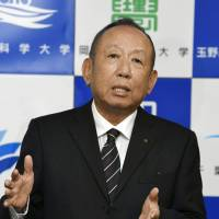 Buried in the quake: Kotaro Kake, chairman of Kake Gakuen, speaks to reporters during a news conference on June 19. | KYODO