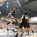 Japan forward Rui Hachimura soars through the lane in first-quarter action during Friday's exhibition game against South Korea at Ota City General Gymnasium.