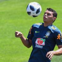 Brazil's Thiago Silva controls the ball during a training session at Sochi Municipal Stadium in Sochi, Russia,  on Tuesday.