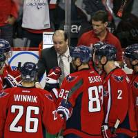 Capitals assistant coach Todd Reirde, seen in an April 2016 file photo speaking during a timeout in a playoff game against the Flyers, has been promoted to head coach to replace Barry Trotz. | AP