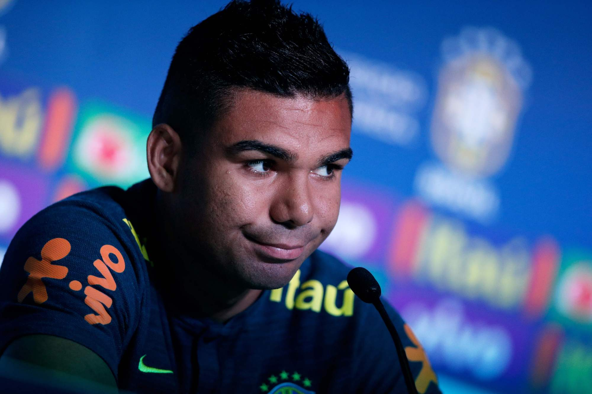 Brazil's Casemiro speaks at a news conference on Friday in Sochi, Russia. | AFP-JIJI
