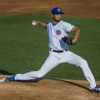 Yu Darvish pitches for the Single-A South Bend Cubs in a minor league rehab start on Monday at Four Winds Field in South Bend, Indiana. | AP