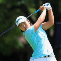 Nasa Hataoka hits a tee shot on the 10th hole in the first round of the Women's PGA Championship on Thursday in Kildeer, Illinois. | KYODO