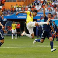 Colombia's Radamel Falcao misses a chance to score in the first half on Tuesday. | REUTERS