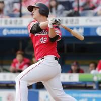 Infielder Matt Dominguez has hit six home runs in 47 at-bats for the Marines this year. | KYODO
