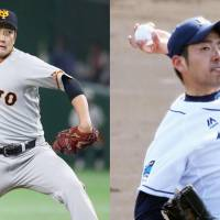 Pitchers Tomoyuki Sugano of the Yomiuri Giants (left) and Yusei Kikuchi of the Seibu Lions faced off Friday night as several MLB scouts looked on at Tokyo Dome. | KYODO