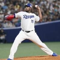 Chunichi's Onelki Garcia tosses a pitch in interleague action on Saturday at Nagoya Dome. The Dragons blanked the Fukuoka SoftBank Hawks 3-0. | KYODO