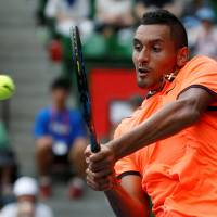 Nick Kyrgios is seen in action at the 2016 Japan Open.   REUTERS