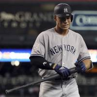 Yankees slugger Aaron Judge whiffs a record eight times in doubleheader