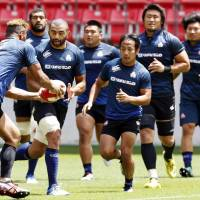 The Brave Blossoms conduct a workout on Friday ahead of Saturday's test against Georgia at Toyota Stadium. | KYODO