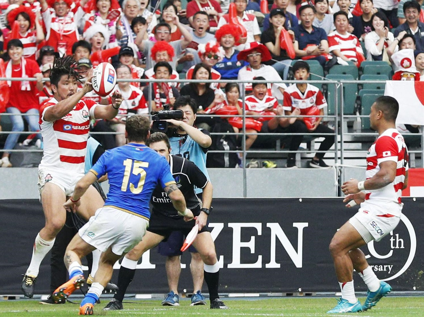 Work remains to be done for the Japan national team, seen in action against Italy on June 9, and the sport to achieve sustained success here after the 2019 Rugby World Cup. | KYODO