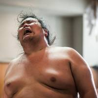 A wrestler takes part in a butsukari-geiko practice session at the Kasugano stable in this 2013 file photo. | INSIDE SPORT