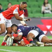 The Sunwolves' Semisi Masirewa (left), seen in action against the Rebels on May 25, is in the Super Rugby team's starting lineup for Sunday's match against the Brumbies in Canberra, Australia. | AFP-JIJI