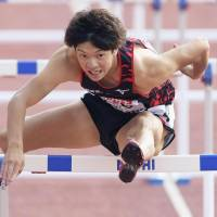 Taio Kanai competes in the men's 110-meter hurdles on Sunday at the national athletics championships in Yamaguchi. | KYODO
