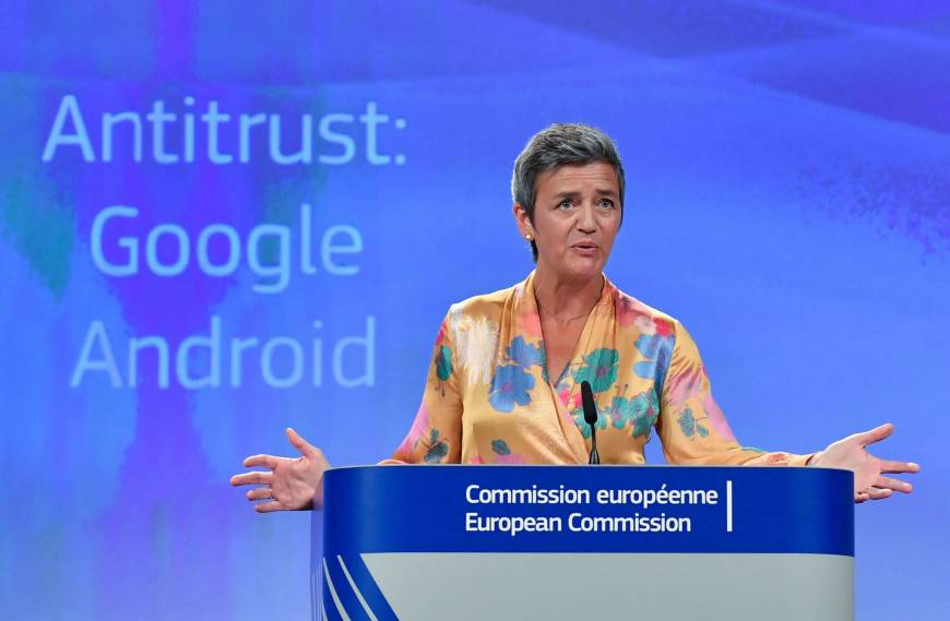 European Union Competition Commissioner Margrethe Vestager gives a joint press at the EU headquarters in Brussels on Wednesday. The same day the EU gave Google 90 days to end 'illegal' practices surrounding its Android operating system or face further fines, after slapping a record €4.34 billion ($5 billion) anti-trust penalty on the US tech giant. | AFP-JIJI