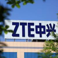 The logo of China's ZTE Corp. is seen on a building in Nanjing, Jiangsu province, China, in April. | REUTERS