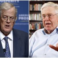 Brothers David (left) and Charles Koch are seen in 2013 and 2012, respectively. In July, an estimated 500 Koch donors — each having committed at least $100,000 annually — gathered in the mountains of Colorado for an invitation-only 'seminar' that featured a handful of elected officials and high-profile influencers. The conservative network remains one of the nation's most influential political forces. | PHELAN M. EBENHACK, BO RADER / THE WICHITA EAGLE / VIA AP