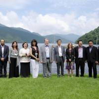 Chief negotiators from the 11 members of the Trans-Pacific Partnership pose in Hakone, Kanagawa Prefecture, on Thursday. | KYODO