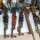 Weapons allegedly belonging to Boko Haram militants are displayed by the police in Maiduguri, northeast Nigeria, on July 18.