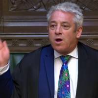 John Bercow, speaker of the House of Commons, suspends proceedings as copies of a key white paper are distributed to representatives while the U.K.'s Secretary of State for Exiting the European Union Dominic Raab speaks at the House of Commons in London on July 12, 2018, in this video still from footage broadcast by the UK Parliament's Parliamentary Recording Unit (PRU). | AFP-JIJI