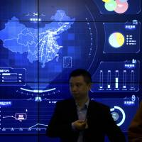 An electronic data display shows a map of China at the Global Mobile Internet conference in Beijing on April 26. | AP