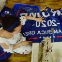 "A Chinese employee sews a banner declaring U.S. President Donald Trump's re-election intentions that reads ""Trump 2020: Keep America Great"" at a factory in Fuyang, in China's eastern Anhui province, on July 13."