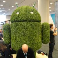 Android-themed shrubbery watches over Google's annual gathering of developers in San Francisco in May 2015. | AFP-JIJI