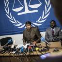 The International Criminal Court's chief prosecutor Fatou Bensouda (center) holds a news conference on May 3 during her visit to look into allegations of extreme violence in Kinshasa.
