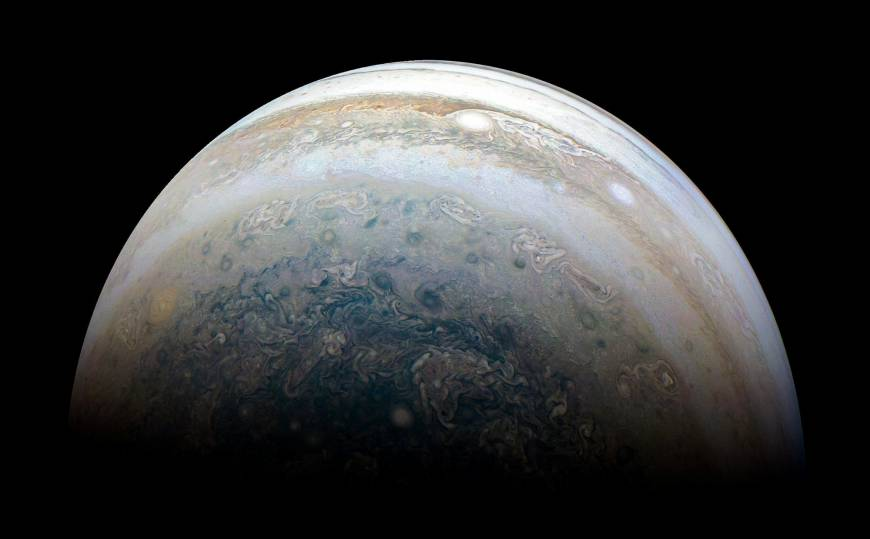 NASA's Juno spacecraft captures Jupiter's southern hemisphere, as the spacecraft performed its 13th close flyby of Jupiter on May 23. | NASA/JPL-CALTECH / SWRI / MSSS / KEVIN M. GILL / HANDOUT / VIA REUTERS