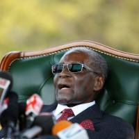 Former Zimbabwe President Robert Mugabe holds a news conference at his private residence in Harare on Sunday. | REUTERS