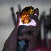 Akbar Khan inspects a piece of fossilized tree sap on May 31 in Bangkok. | AFP-JIJI