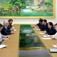 North Korean Minister of Health Jang Jun Sang meets with the United Nations' undersecretary-general for humanitarian affairs, Mark Lowcock, in Pyongyang in this photo released Wednesday. | REUTERS