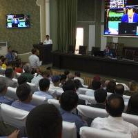 This image grab taken from an AFPTV video shows a general view of a news conference addressed by Tajik Minister of the Interior Ramazon Hamro Rahimzoda in Dushanbe on Monday. | SHODMON KHOLOV / AFPTV / VIA AFP-JIJI