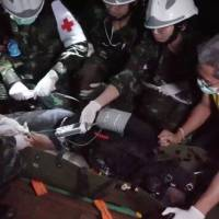 Rescue personnel work at the Tham Luang cave complex in the northern province of Chiang Rai, Thailand, in July in this still image taken from a video obtained from social media. | REUTERS
