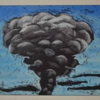 One of the pictures of this digital kamishibai (picture story show) depicts the horror of the atomic bombing of Nagasaki in 1945. | KYODO