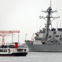An Aegis destroyer lies at anchor at the U.S. Navy's Yokosuka Naval Base in Kanagawa Prefecture in March. | KYODO