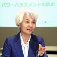 Cuore C3 Co. Chairwoman Yasuko Okada speaks during an interview in Tokyo on April 23. | KYODO