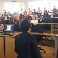 Students and professors listen to hibakusha Keiko Ogura's testimony at Harvard Kennedy School in Boston in May.   VOLUNTEER STUDENTS AND FELLOWS IN THE GREATER BOSTON AREA