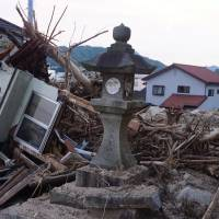 The town of Kaita, next to Hiroshima and home to a large Brazilian community, is seen Saturday after torrential rains and landslides hit earlier this month.   MAGDALENA OSUMI