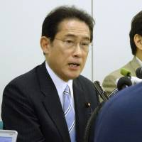 LDP policy chief Fumio Kishida says he won't run in party leadership election, leaving two-way race between Abe and Ishiba