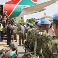 Ground Self-Defense Force personnel leave Juba in May 2017 after completing Japan's peacekeeping mission in South Sudan. | KYODO